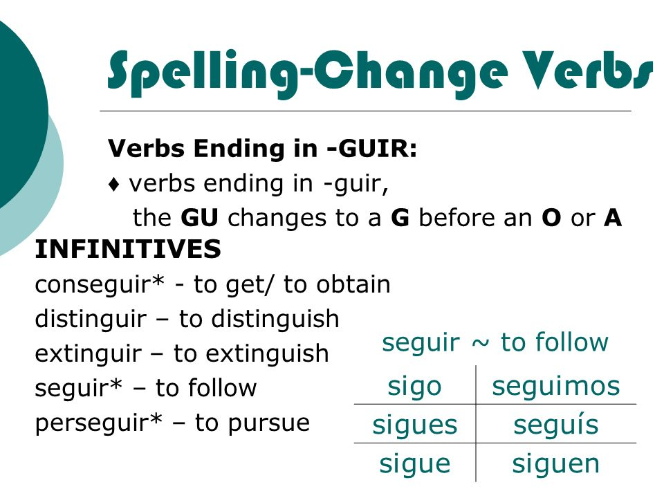 Spelling-Change Verbs Verbs Ending in -GUIR: verbs ending in -guir, the GU changes to a G before an O or A INFINITIVES conseguir* - to get/ to obtain