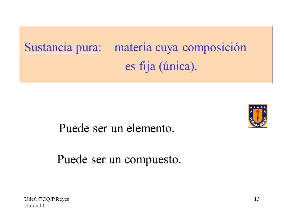 UdeC/FCQ/P.Reyes Unidad 1 13 Sustancia pura: materia cuya composición es fija (única). Puede ser un elemento. Puede ser un compuesto.