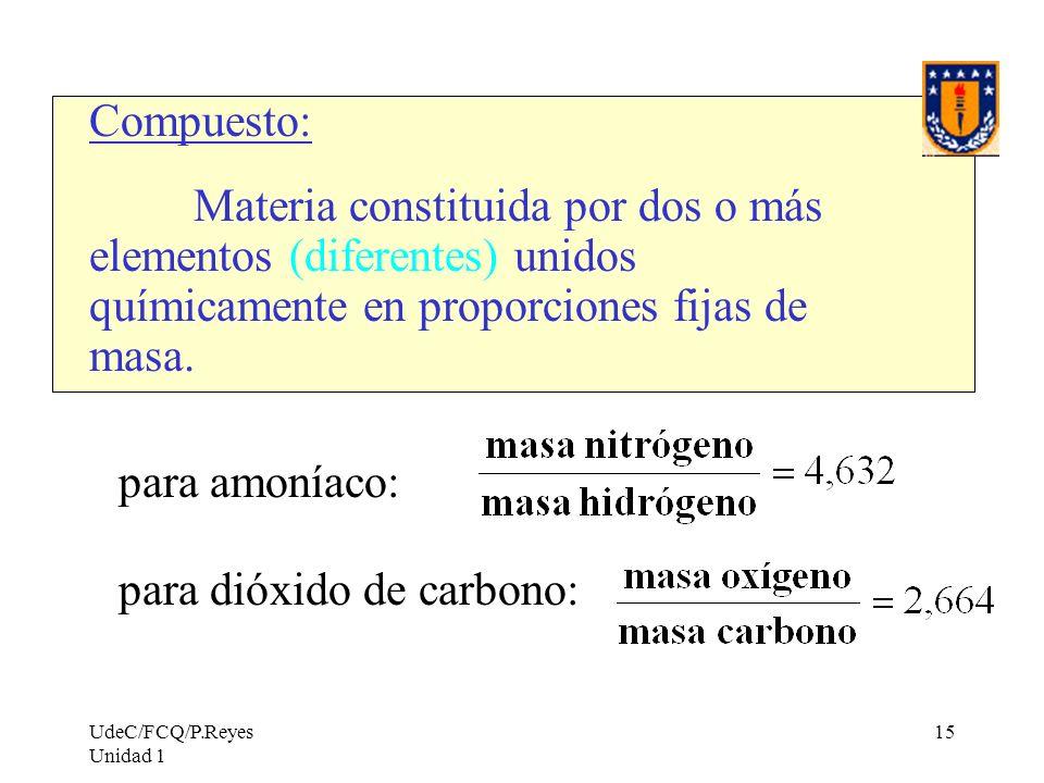 UdeC/FCQ/P.Reyes Unidad 1 15 Compuesto: Materia constituida por dos o más elementos (diferentes) unidos químicamente en proporciones fijas de masa. pa