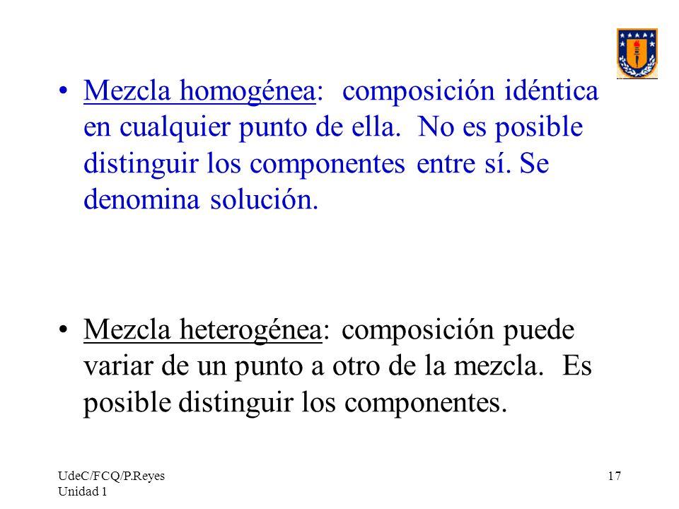 UdeC/FCQ/P.Reyes Unidad 1 17 Mezcla homogénea: composición idéntica en cualquier punto de ella. No es posible distinguir los componentes entre sí. Se