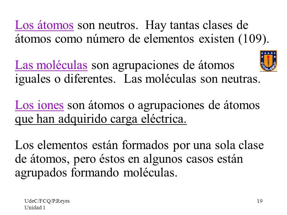 UdeC/FCQ/P.Reyes Unidad 1 19 Los átomos son neutros. Hay tantas clases de átomos como número de elementos existen (109). Las moléculas son agrupacione