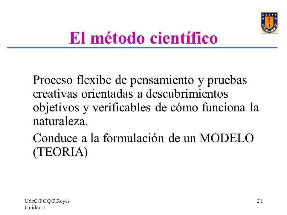 UdeC/FCQ/P.Reyes Unidad 1 21 El método científico Proceso flexibe de pensamiento y pruebas creativas orientadas a descubrimientos objetivos y verifica