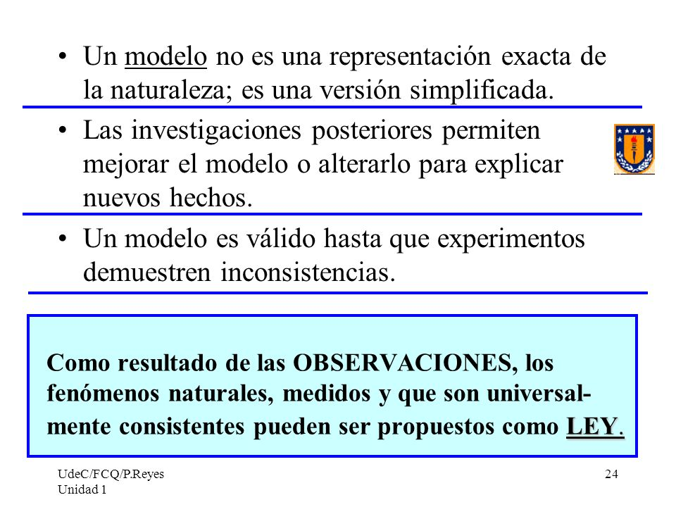 UdeC/FCQ/P.Reyes Unidad 1 24 Un modelo no es una representación exacta de la naturaleza; es una versión simplificada. Las investigaciones posteriores
