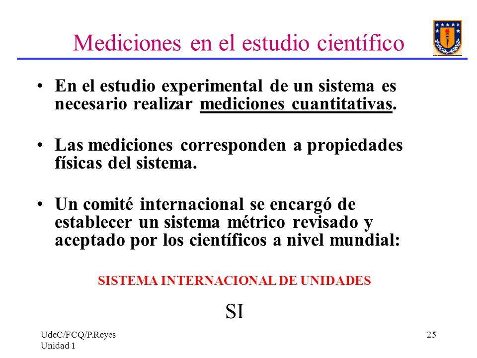 UdeC/FCQ/P.Reyes Unidad 1 25 Mediciones en el estudio científico En el estudio experimental de un sistema es necesario realizar mediciones cuantitativ