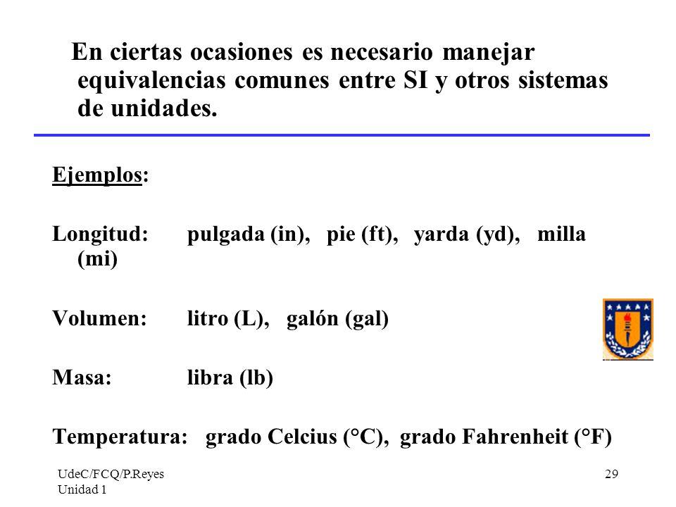 UdeC/FCQ/P.Reyes Unidad 1 29 En ciertas ocasiones es necesario manejar equivalencias comunes entre SI y otros sistemas de unidades. Ejemplos: Longitud