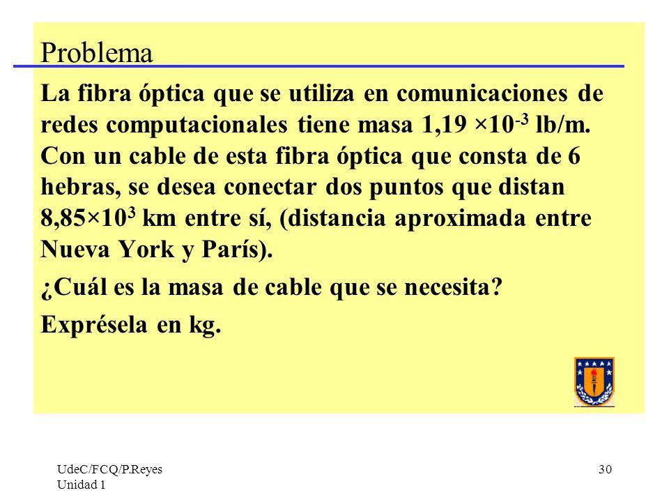 UdeC/FCQ/P.Reyes Unidad 1 30 Problema La fibra óptica que se utiliza en comunicaciones de redes computacionales tiene masa 1,19 ×10 -3 lb/m. Con un ca
