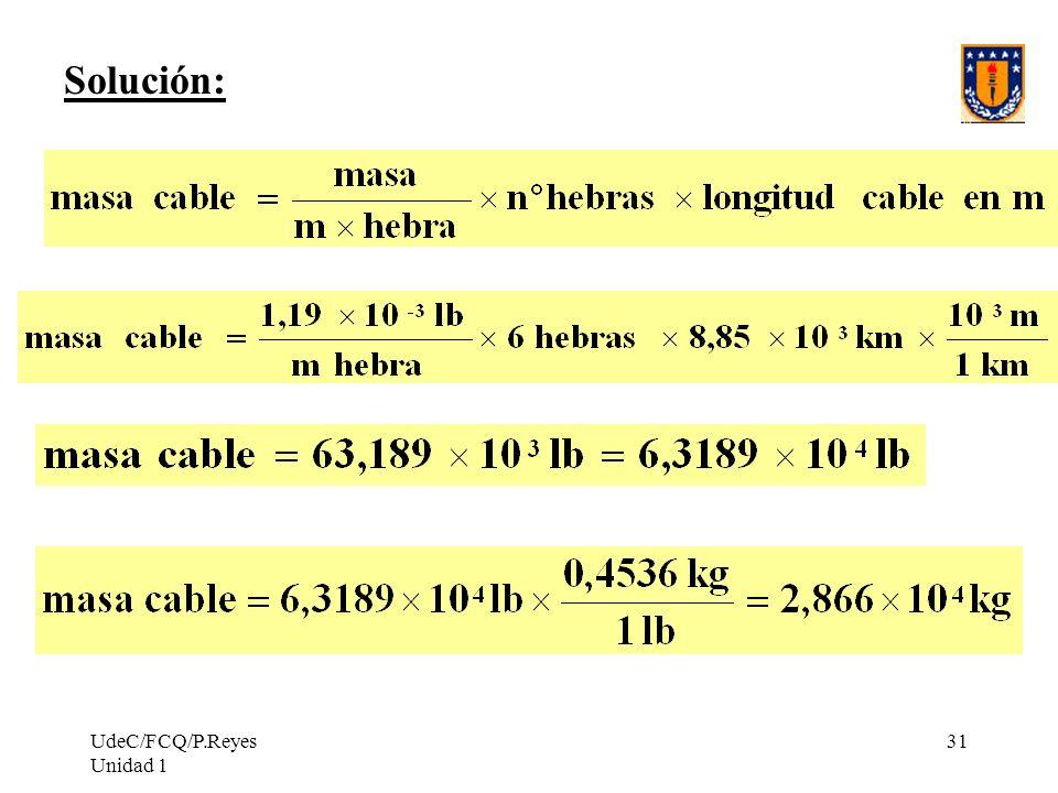 UdeC/FCQ/P.Reyes Unidad 1 31 Solución: