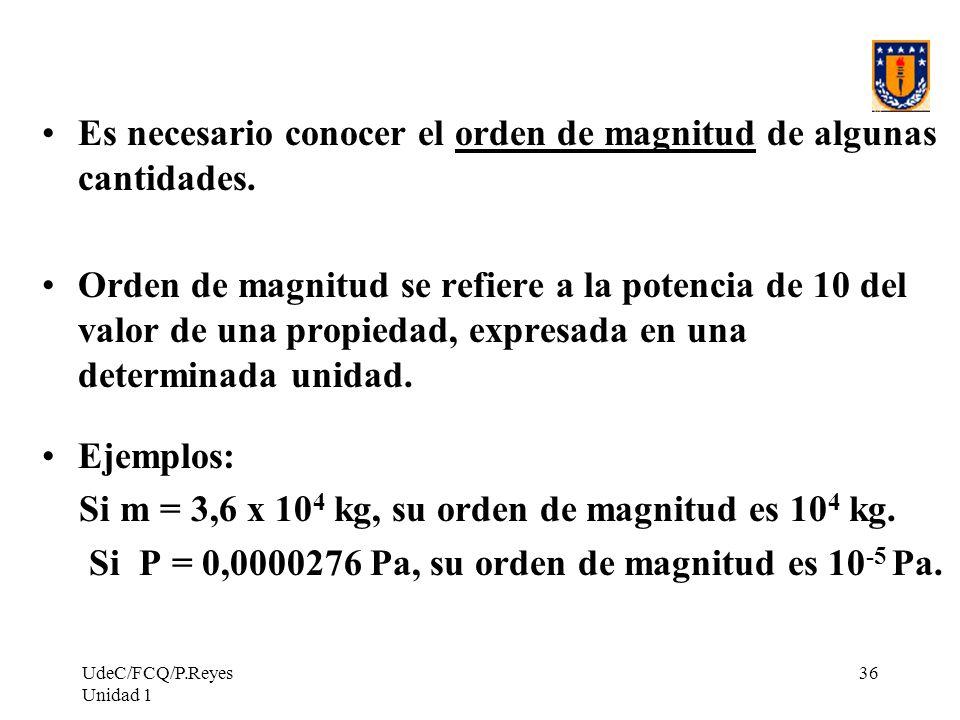 UdeC/FCQ/P.Reyes Unidad 1 36 Es necesario conocer el orden de magnitud de algunas cantidades. Orden de magnitud se refiere a la potencia de 10 del val