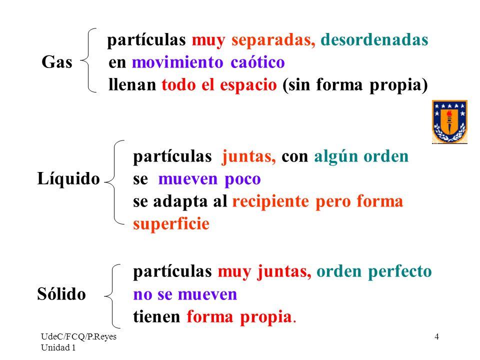 UdeC/FCQ/P.Reyes Unidad 1 4 partículas muy separadas, desordenadas Gas en movimiento caótico llenan todo el espacio (sin forma propia) partículas junt