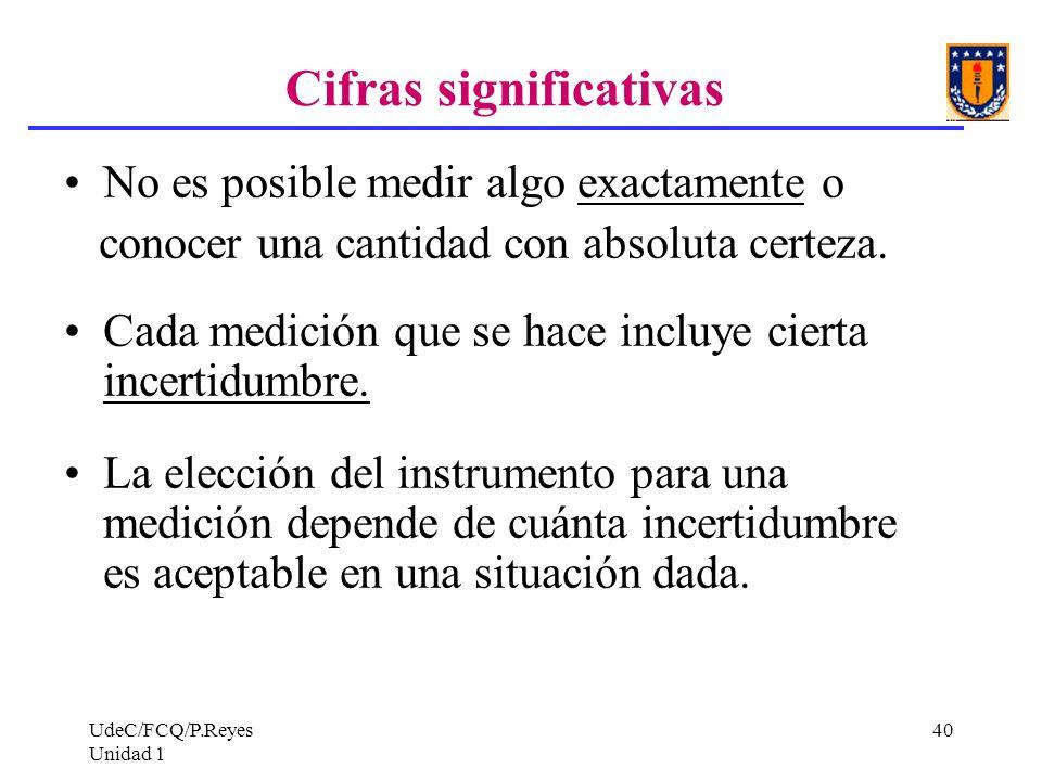 UdeC/FCQ/P.Reyes Unidad 1 40 Cifras significativas No es posible medir algo exactamente o conocer una cantidad con absoluta certeza. Cada medición que