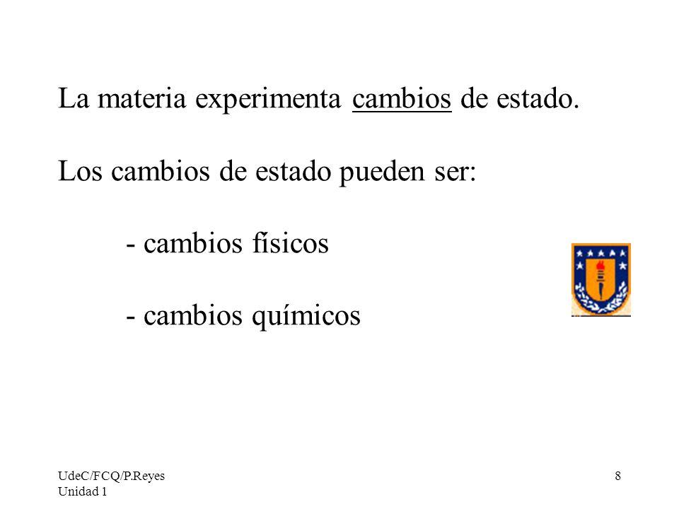 UdeC/FCQ/P.Reyes Unidad 1 8 La materia experimenta cambios de estado. Los cambios de estado pueden ser: - cambios físicos - cambios químicos