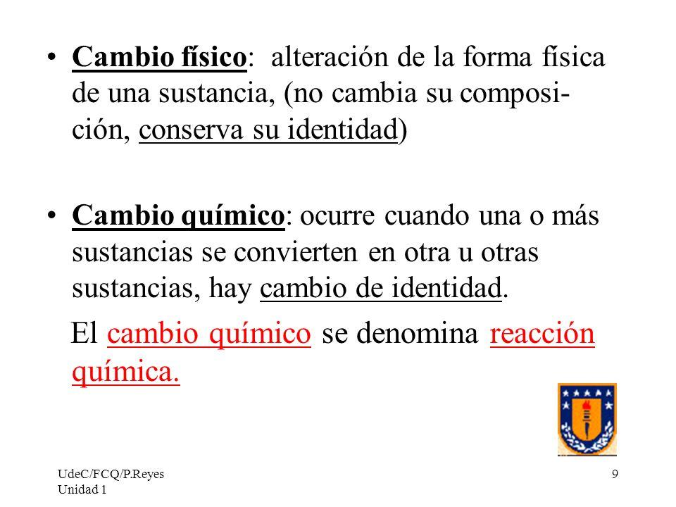 UdeC/FCQ/P.Reyes Unidad 1 9 Cambio físico: alteración de la forma física de una sustancia, (no cambia su composi- ción, conserva su identidad) Cambio