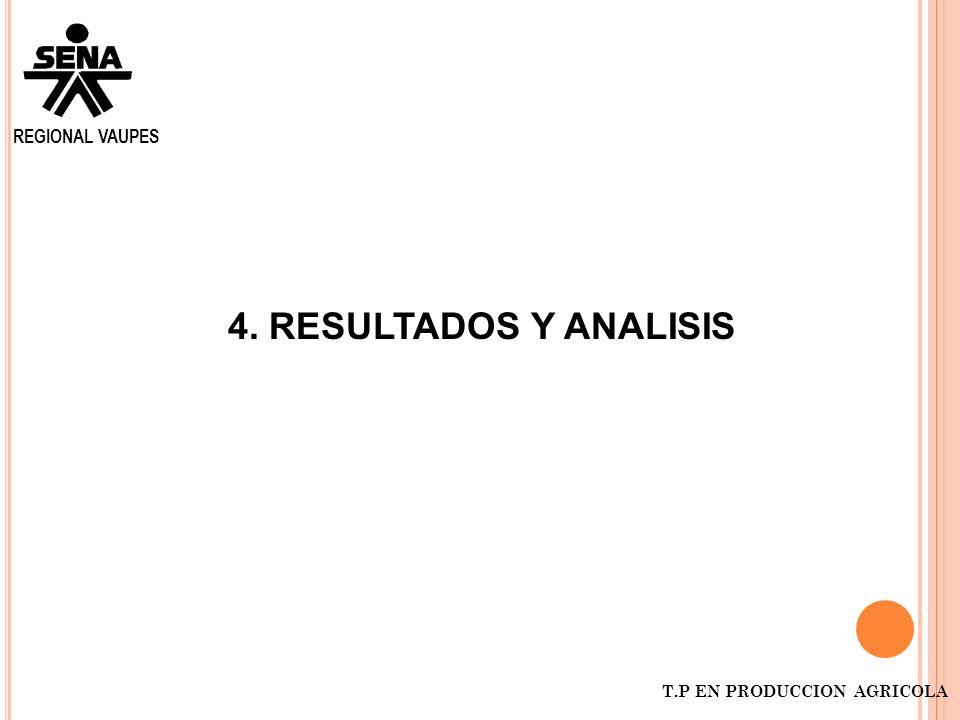 REGIONAL VAUPES T.P EN PRODUCCION AGRICOLA 4. RESULTADOS Y ANALISIS