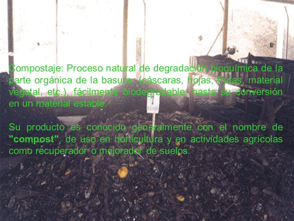 REGIONAL VAUPES T.P EN PRODUCCION AGRICOLA Compostaje: Proceso natural de degradación bioquímica de la parte orgánica de la basura (cáscaras, hojas, f