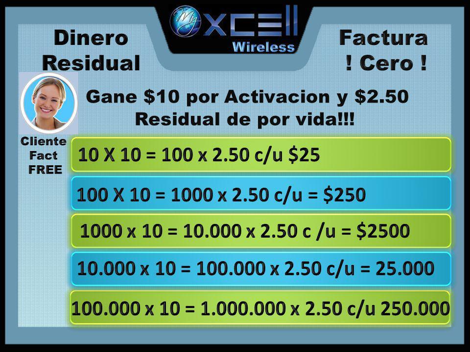 Gane $10 por Activacion y $2.50 Residual de por vida!!!