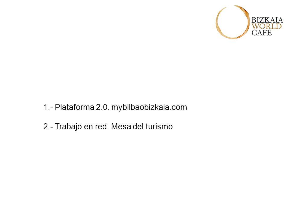 1.- Plataforma 2.0. mybilbaobizkaia.com 2.- Trabajo en red. Mesa del turismo