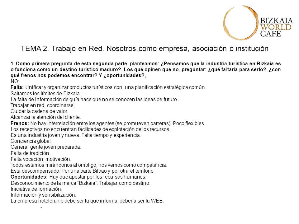 TEMA 2. Trabajo en Red. Nosotros como empresa, asociación o institución 1.