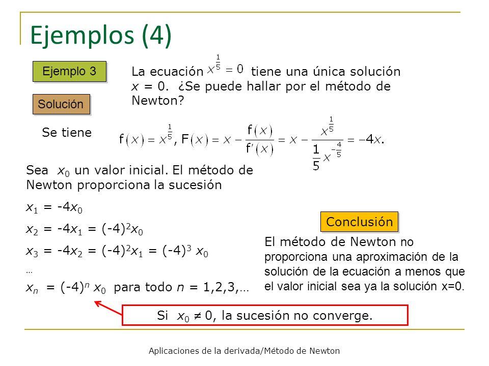 Aplicaciones de la derivada/Método de Newton Ejemplos (4) Ejemplo 3 Solución La ecuación tiene una única solución x = 0. ¿Se puede hallar por el métod
