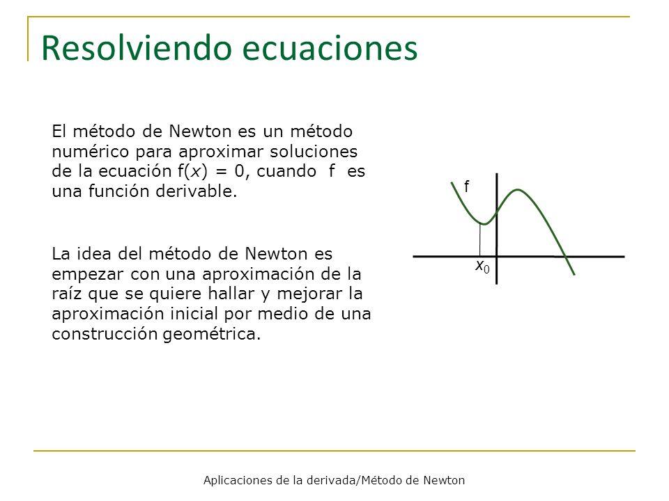 Aplicaciones de la derivada/Método de Newton Resolviendo ecuaciones El método de Newton es un método numérico para aproximar soluciones de la ecuación