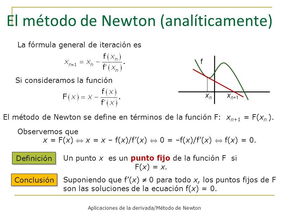 Aplicaciones de la derivada/Método de Newton f x n+1 xnxn La fórmula general de iteración es Si consideramos la función El método de Newton se define