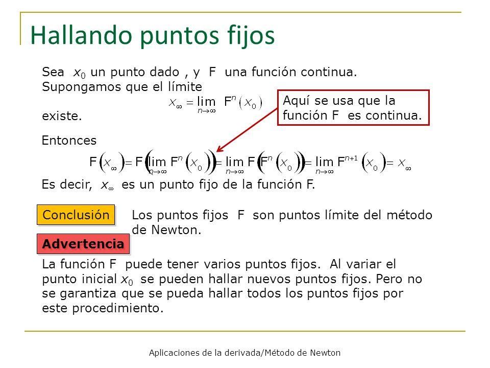 Aplicaciones de la derivada/Método de Newton Hallando puntos fijos Sea x 0 un punto dado, y F una función continua. Supongamos que el límite existe. E