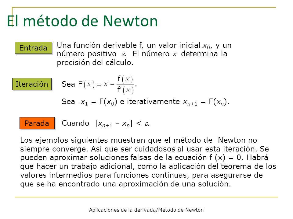 Aplicaciones de la derivada/Método de Newton Parada Los ejemplos siguientes muestran que el método de Newton no siempre converge. Así que ser cuidados