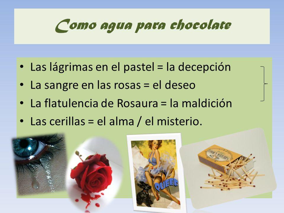 Como agua para chocolate Las lágrimas en el pastel = la decepción La sangre en las rosas = el deseo La flatulencia de Rosaura = la maldición Las ceril
