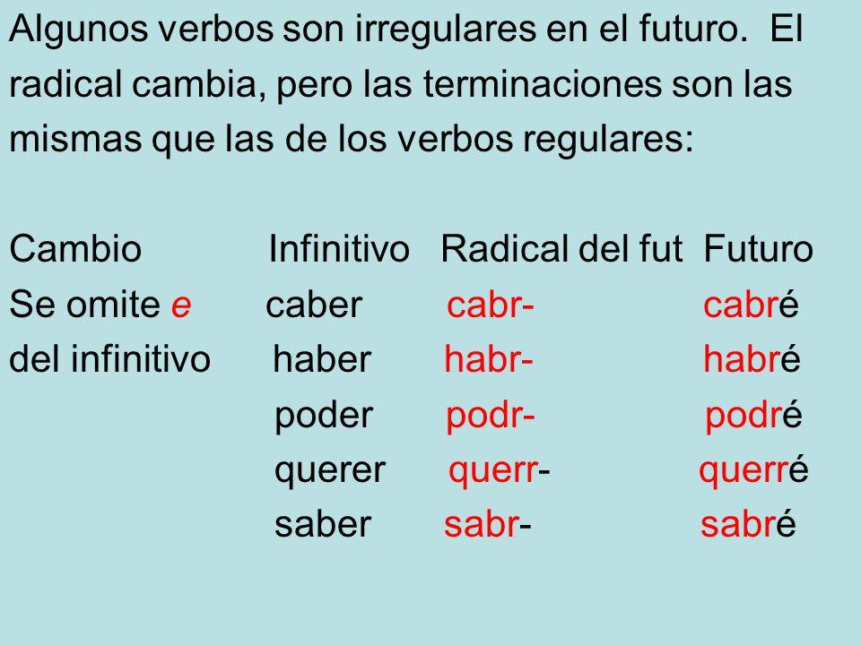 Algunos verbos son irregulares en el futuro. El radical cambia, pero las terminaciones son las mismas que las de los verbos regulares: Cambio Infiniti