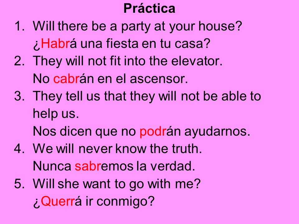 Práctica 1. Will there be a party at your house? ¿Habrá una fiesta en tu casa? 2. They will not fit into the elevator. No cabrán en el ascensor. 3. Th