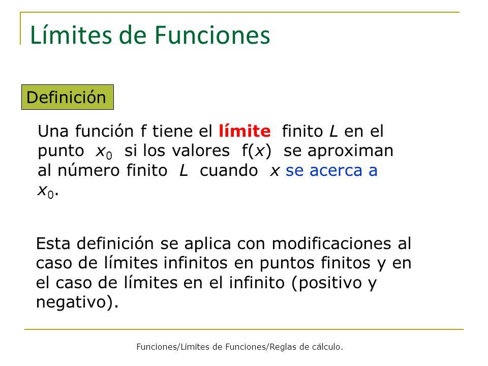 Límites de Funciones Definición Una función f tiene el límite finito L en el punto x 0 si los valores f(x) se aproximan al número finito L cuando x se