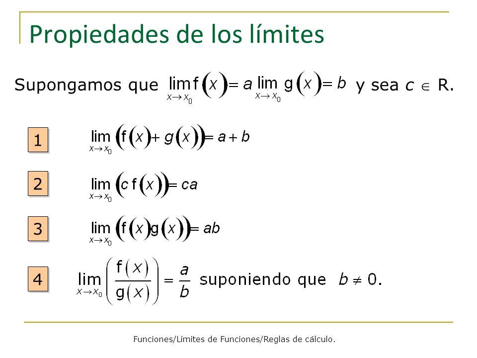 Propiedades de los límites Supongamos que y sea c R. Funciones/Límites de Funciones/Reglas de cálculo. 4 4 3 3 2 2 1 1