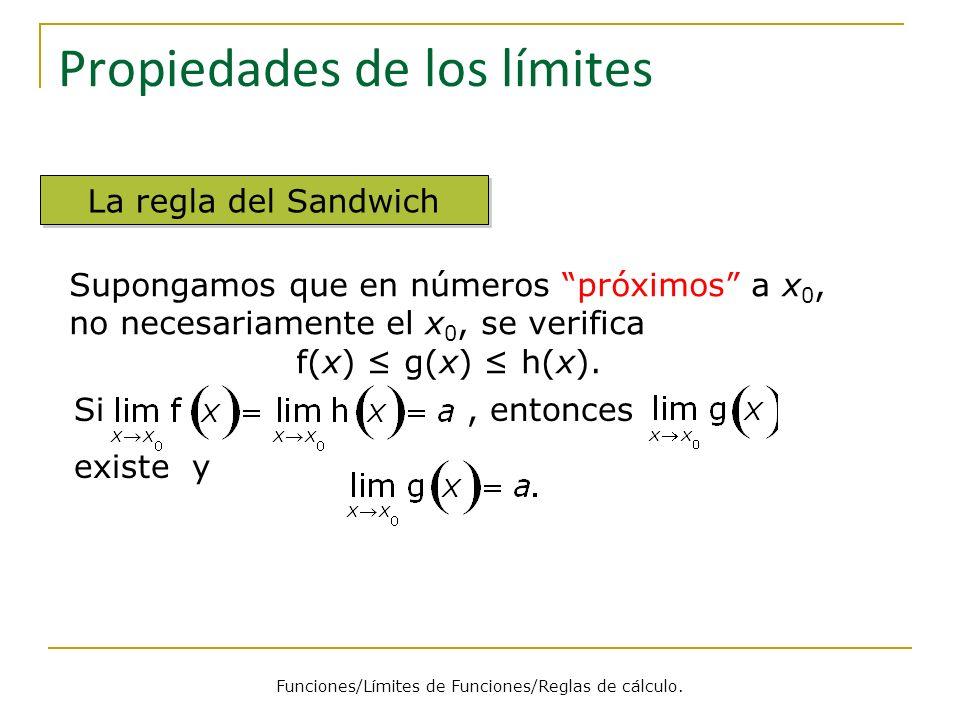 Propiedades de los límites La regla del Sandwich Si, entonces existe y Supongamos que en números próximos a x 0, no necesariamente el x 0, se verifica