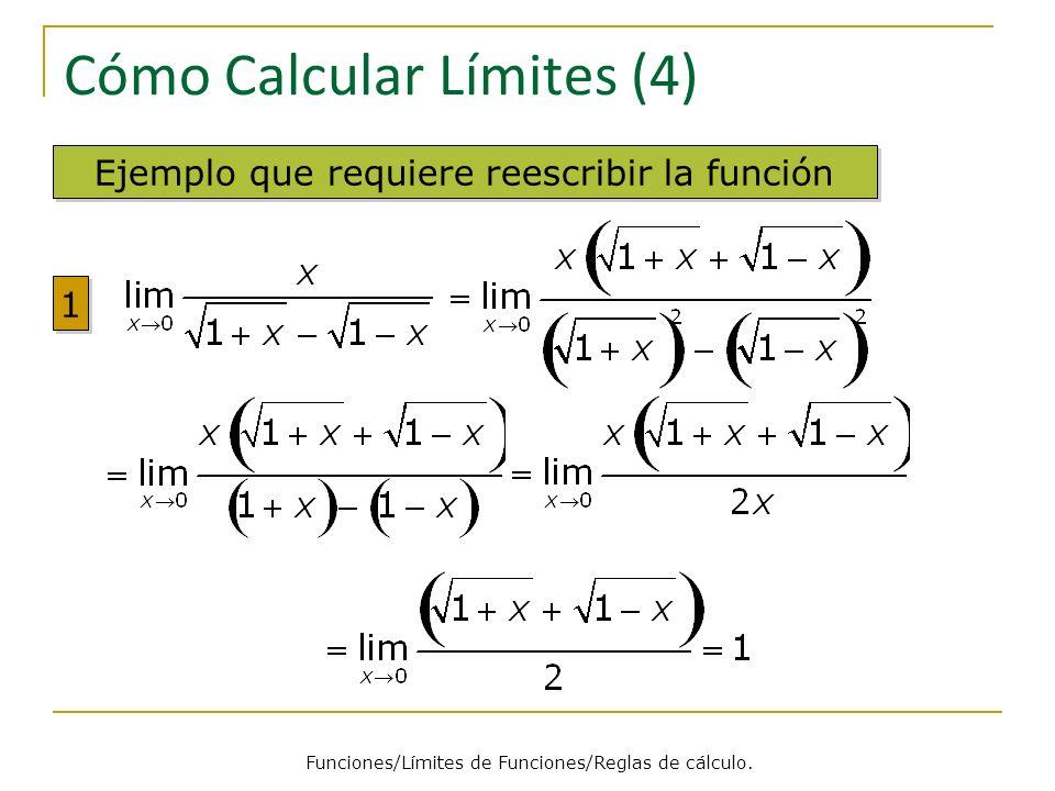 Cómo Calcular Límites (4) Ejemplo que requiere reescribir la función 1 1 Funciones/Límites de Funciones/Reglas de cálculo.