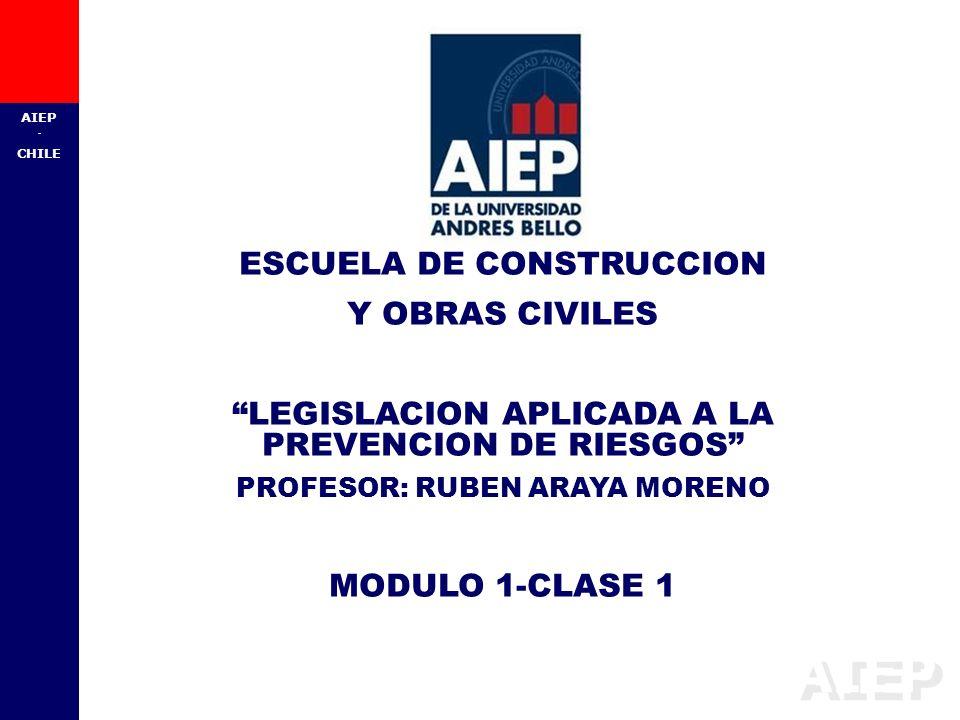 AIEP - CHILE ESCUELA DE CONSTRUCCION Y OBRAS CIVILES LEGISLACION APLICADA A LA PREVENCION DE RIESGOS PROFESOR: RUBEN ARAYA MORENO MODULO 1-CLASE 1
