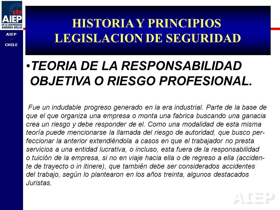 AIEP - CHILE TEORIA DE LA RESPONSABILIDAD OBJETIVA O RIESGO PROFESIONAL. Fue un indudable progreso generado en la era industrial. Parte de la base de