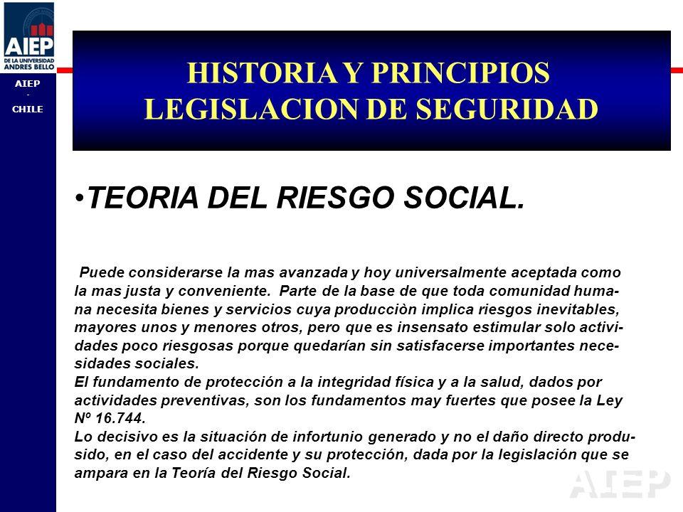 AIEP - CHILE TEORIA DEL RIESGO SOCIAL. Puede considerarse la mas avanzada y hoy universalmente aceptada como la mas justa y conveniente. Parte de la b