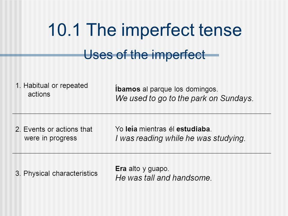 10.1 The imperfect tense 1. Habitual or repeated actions Íbamos al parque los domingos. We used to go to the park on Sundays. 2. Events or actions tha