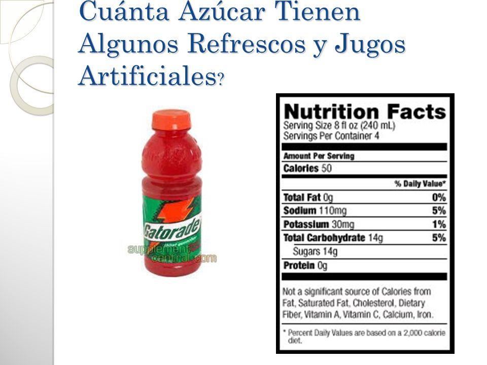 Cuánta Azúcar Tienen Algunos Refrescos y Jugos Artificiales ?