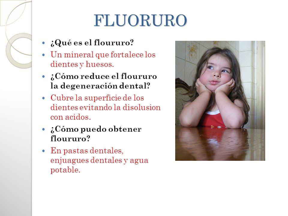 FLUORURO FLUORURO ¿Qué es el floururo? Un mineral que fortalece los dientes y huesos. ¿Cómo reduce el floururo la degeneración dental? Cubre la superf