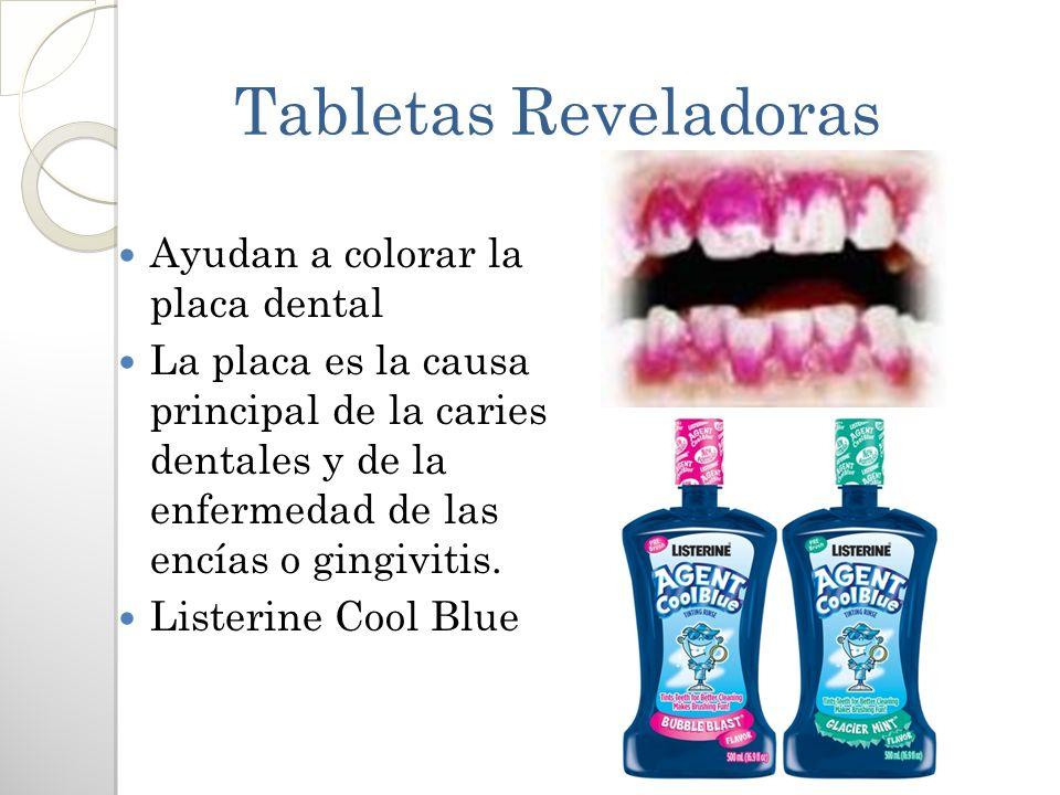 Tabletas Reveladoras Ayudan a colorar la placa dental La placa es la causa principal de la caries dentales y de la enfermedad de las encías o gingivit
