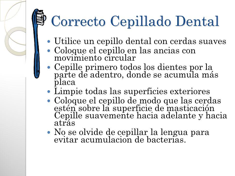 Correcto Cepillado Dental Utilice un cepillo dental con cerdas suaves Coloque el cepillo en las ancias con movimiento circular Cepille primero todos l