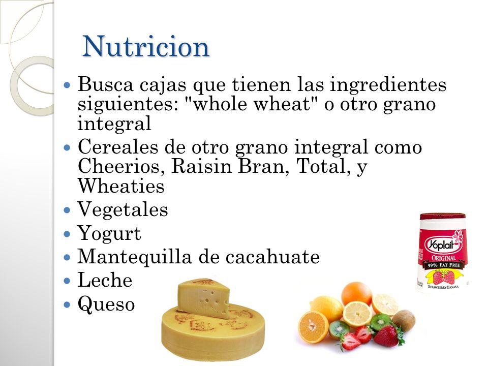 Nutricion Busca cajas que tienen las ingredientes siguientes: