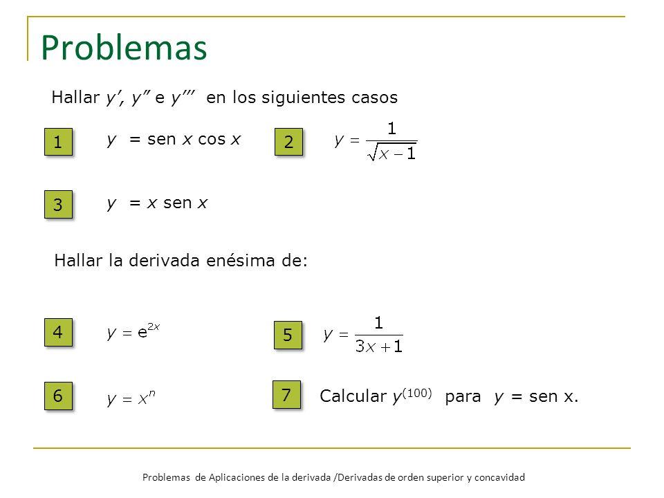 Problemas 1 1 y = sen x cos x 2 2 Hallar y, y e y en los siguientes casos 3 3 y = x sen x 4 4 Hallar la derivada enésima de: 5 5 6 6 7 7 Calcular y (1