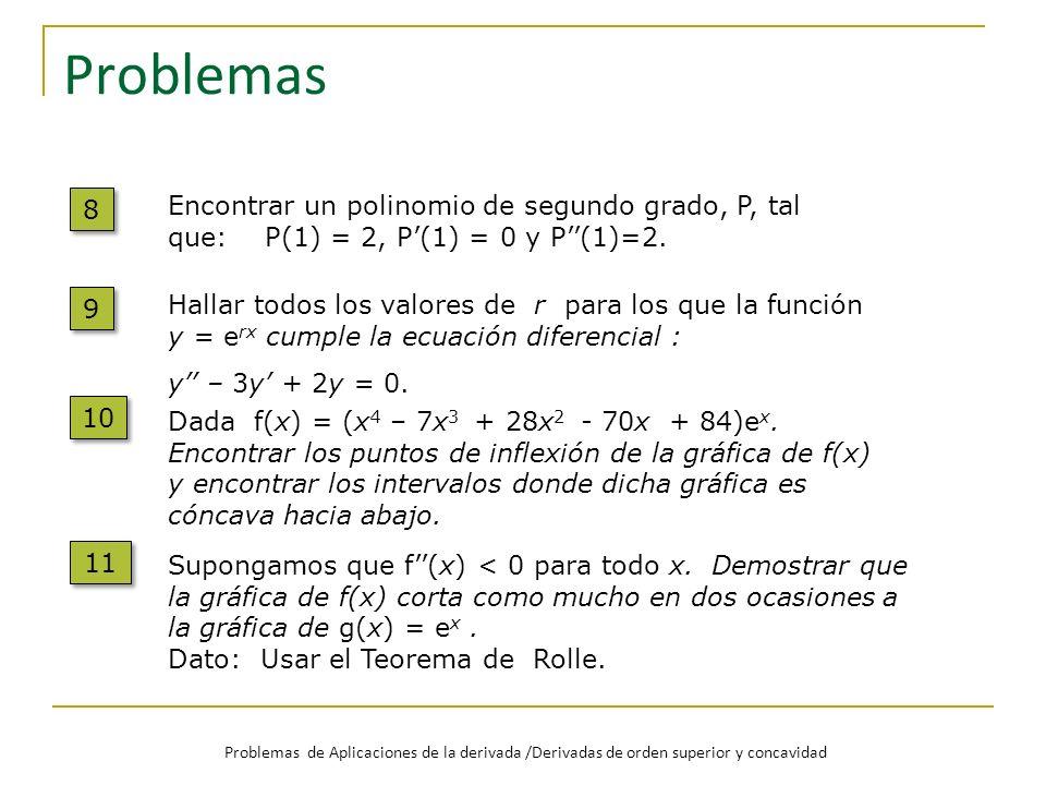 Problemas 8 8 Encontrar un polinomio de segundo grado, P, tal que: P(1) = 2, P(1) = 0 y P(1)=2. 9 9 Hallar todos los valores de r para los que la func