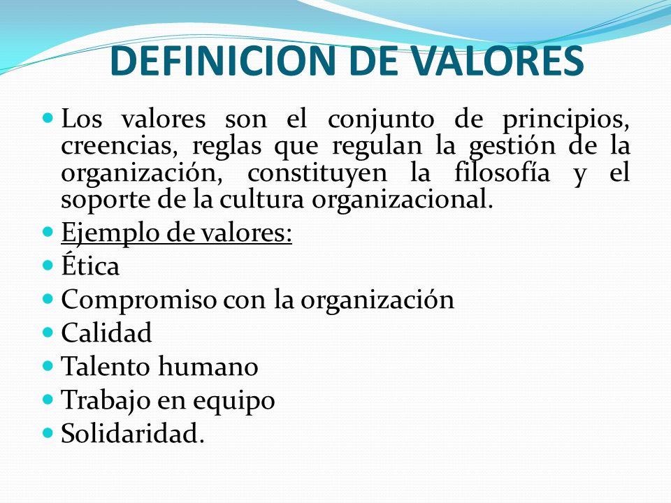 DEFINICION DE VALORES Los valores son el conjunto de principios, creencias, reglas que regulan la gestión de la organización, constituyen la filosofía