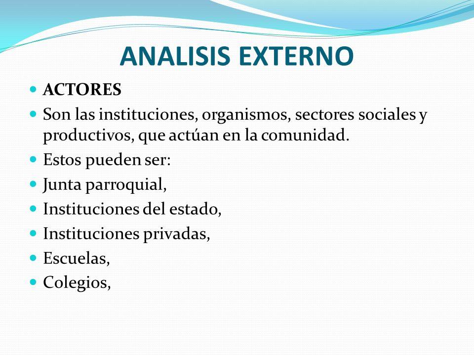ANALISIS EXTERNO ACTORES Son las instituciones, organismos, sectores sociales y productivos, que actúan en la comunidad. Estos pueden ser: Junta parro