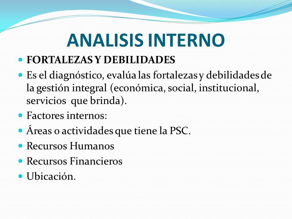 ANALISIS INTERNO FORTALEZAS Y DEBILIDADES Es el diagnóstico, evalúa las fortalezas y debilidades de la gestión integral (económica, social, institucio