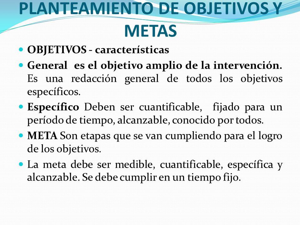 PLANTEAMIENTO DE OBJETIVOS Y METAS OBJETIVOS - características General es el objetivo amplio de la intervención. Es una redacción general de todos los