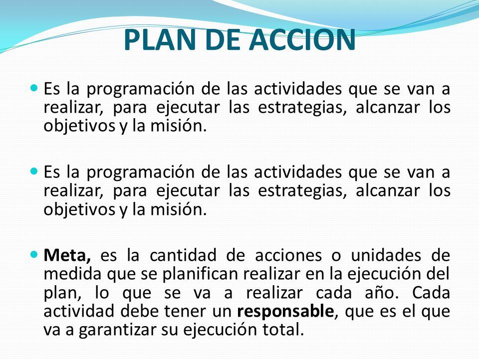 PLAN DE ACCION Es la programación de las actividades que se van a realizar, para ejecutar las estrategias, alcanzar los objetivos y la misión. Meta, e