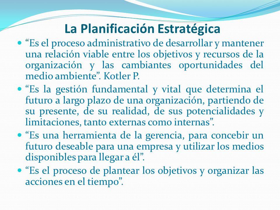 La Planificación Estratégica Es el proceso administrativo de desarrollar y mantener una relación viable entre los objetivos y recursos de la organizac